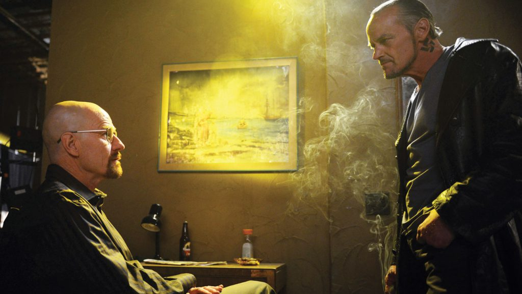 "Walter White (Bryan Cranston) and Jack (Michael Bowen) - Breaking Bad_Season 5, Episode 8_""Gliding Over All"" - Photo Credit: Ursula Coyote/AMC"